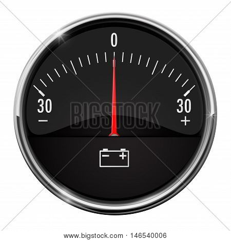 Ammeter. Auto accumulator charging. Vector isolated on white background.
