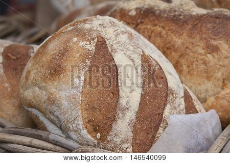 A fresh loaf of bread at a bakery