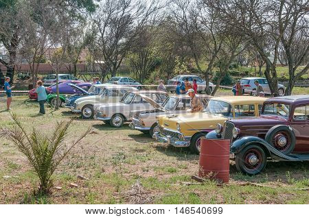 BLOEMFONTEIN SOUTH AFRICA SEPTEMBER 10 2016: Vintage cars on display at the site of the Bloemfontein Society of Model Engineers at Modenso Park.