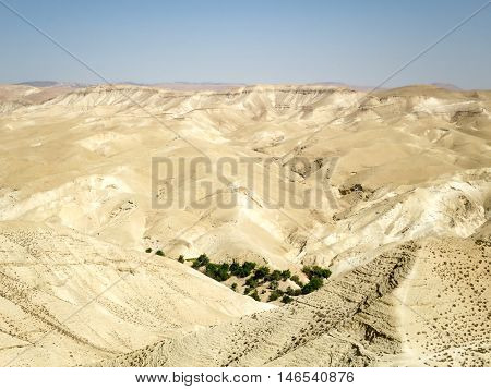 The barren hills of Wadi Qelt in Jordan.