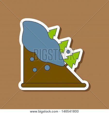 paper sticker on stylish background of snow avalanche spruce