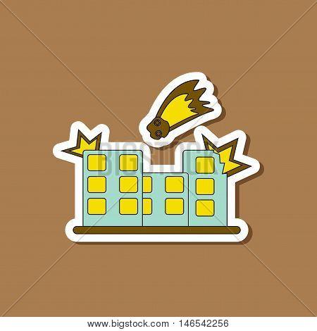 paper sticker on stylish background of meteorite falling house