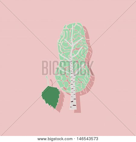 paper sticker on stylish background of plant Betula