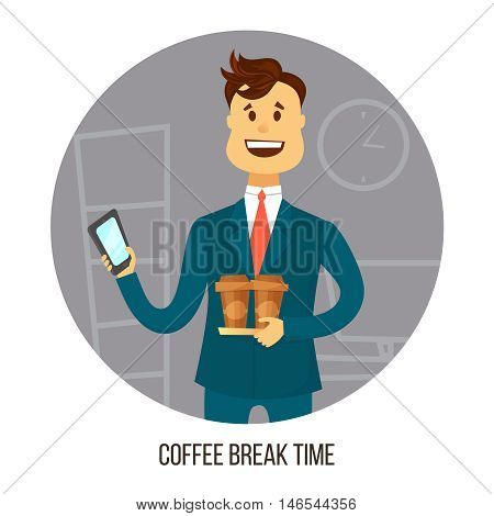 Coffee break. Young businessman or office worker with two cups of coffee agrees on smartphone with friends or colleagues about coffee break .Business concept . Cartoon flat style illustration