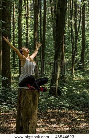 Beautiful Sporty Girl In The Woods On A Stump In Yoga, Sports