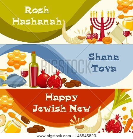Rosh Hashanah, Shana Tova or Jewish New year cartoon flat vector banners set.Traditional symbols of Jewish new year holiday Rosh Hashanah