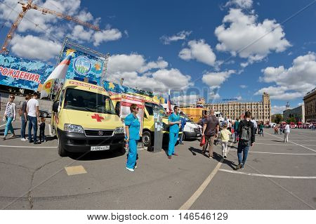 VOLGOGRAD - SEPTEMBER 10: Cars intensive care medicine at the exhibition of special equipment in the framework of the city day. September 10 2016 in Volgograd Russia.