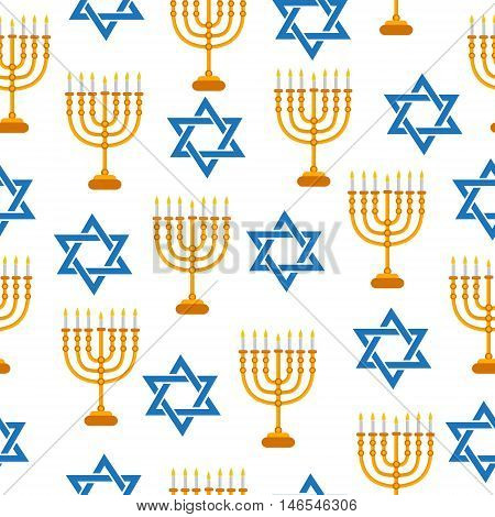 Menorah and Star of David seamless texture. Menorah and Star of David background wallpaper fabric. Vector illustration.