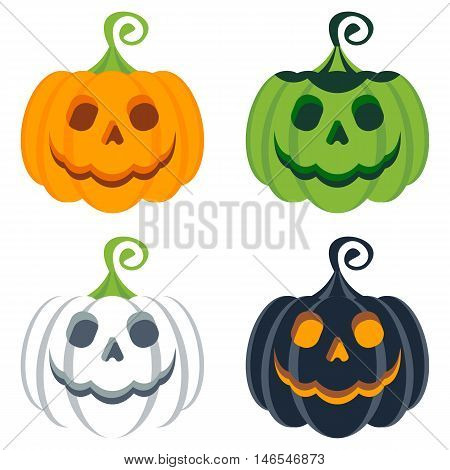 Set Of Helloween Colored Pumpkins