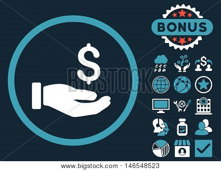 Earnings Hand icon with bonus. Vector illustration style is flat iconic bicolor symbols, blue and white colors, dark blue background.