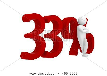 3D Human Leans Against A Red 33%