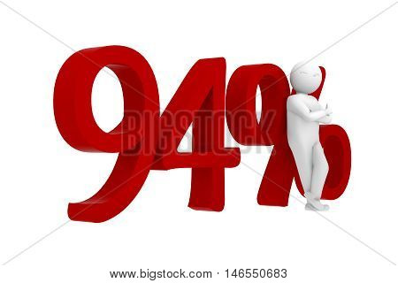 3D Human Leans Against A Red 94%