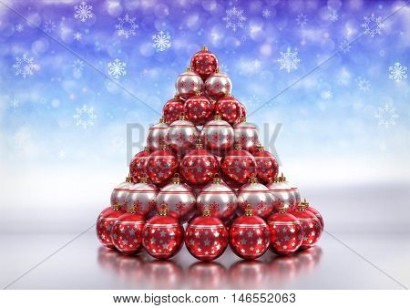christmas theme background with christmas bulbs on glossy floor and bokeh background with snowlakes. 3D render.