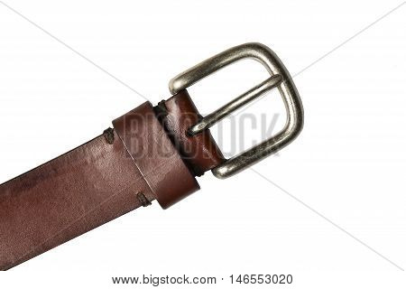 Retro leather belt with metal clasp isolated on white background