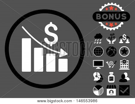 Recession Chart icon with bonus. Vector illustration style is flat iconic bicolor symbols, black and white colors, gray background.