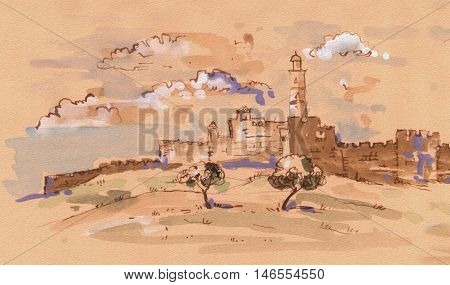 Jerusalem Old City, Israel. David's city - old city of Jerusalem. Watercolor Illustration. Hand Drawn.