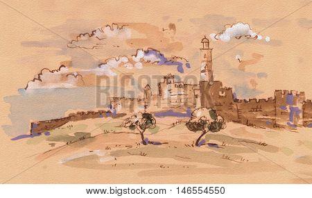 Jerusalem Old City, Israel. David's city - old city of Jerusalem. Watercolor Illustration. Hand Drawn.
