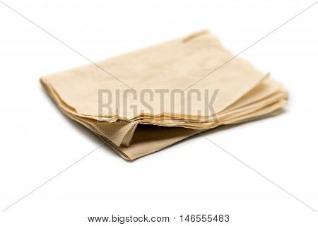 Old Tissue paper on white paper background.