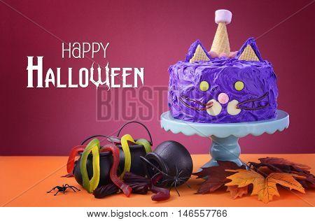 Halloween Party Purple Cat Cake