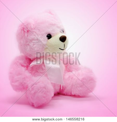 Vintage Doll bear background whit pink colur