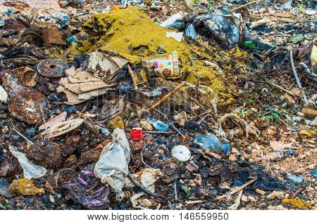 Close Up of a Dumping Trash Outdoors