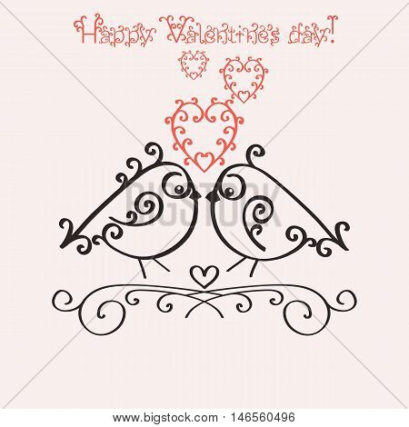 Template greeting card or invitation for Valentines Day. Romantic nostalgia design with couple in love birdies. Vector illustration.