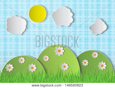 Paper summer background. Landscape nature illustration. Vector scene with hills, clouds, grass, sun, flowers. Paper elements with shadow. Cut paper landscape. Nature symbols.