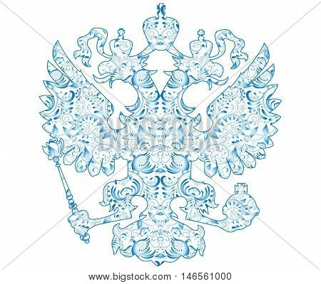Coat of arms of Russia with blue pattern in traditional folk style Gzhel Isolated on white. Vector illustration.