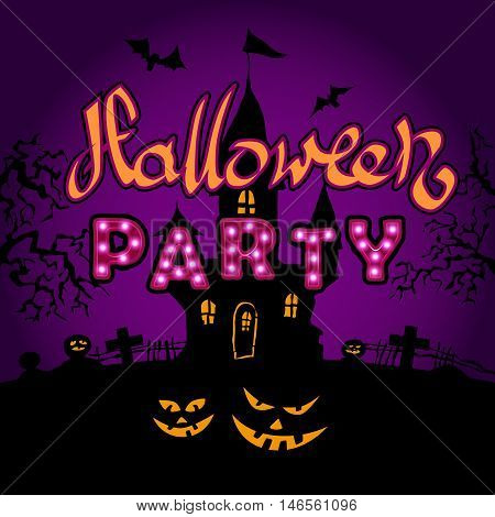 Happy Halloween party on violette background, vector illustration