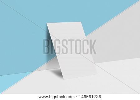 Mock up postcard and cover. Wedding invitation. White paper card on blue and white background. 3D rendering for your design and template.