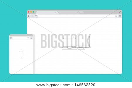 Set of Flat blank browser windows for different devices. Vector. Computer, phone sizes. Device Icons: smart phone and desktop computer. Vector illustration of responsive web design.