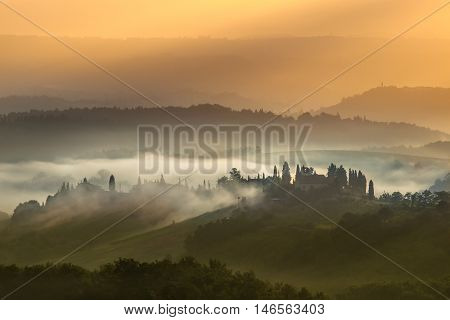 Tuscan Village Landscape In The Early Morning