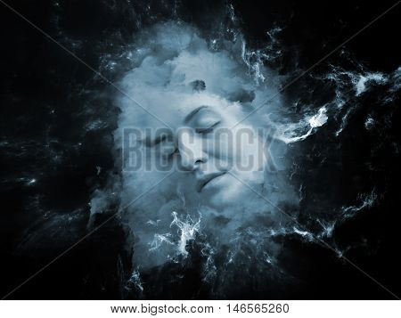 Will Universe Remember Me series. Artistic background made of human face and fractal smoke nebula for use with projects on human mind imagination memory and dreams