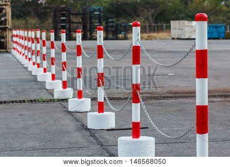 The Red white pylons Alerts traffic warning