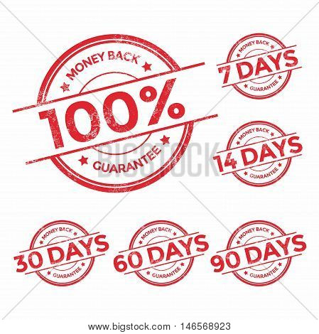 Money back guarantee red stamp set, vector illustration