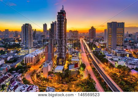 Bangkok, Thailand skyline from Krung Thong Buri.