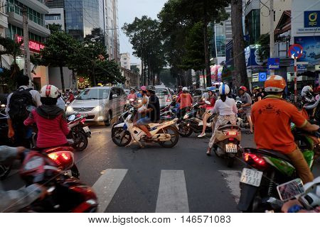 Crowded, Chaotic Traffic At  Ho Chi Minh City