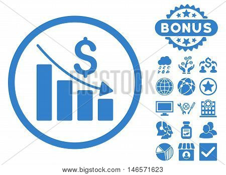 Recession Chart icon with bonus. Vector illustration style is flat iconic symbols, cobalt color, white background.