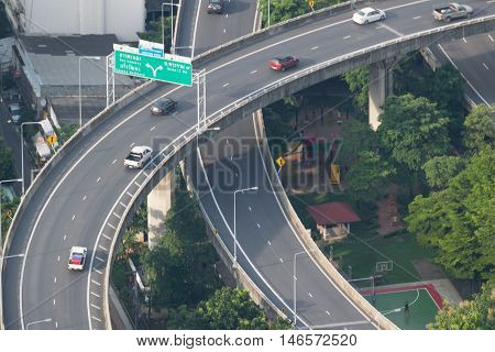 Cityscape, Expressway With Traffic On Road In Bangkok City Thailand.
