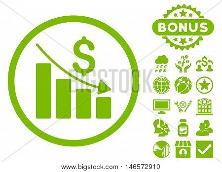 Recession Chart icon with bonus. Vector illustration style is flat iconic symbols, eco green color, white background.