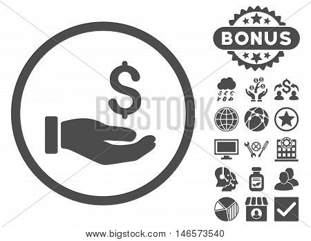 Earnings Hand icon with bonus. Vector illustration style is flat iconic symbols, gray color, white background.