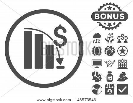 Epic Fail Chart icon with bonus. Vector illustration style is flat iconic symbols, gray color, white background.