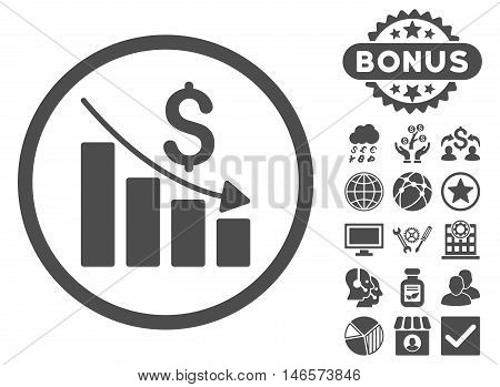 Recession Chart icon with bonus. Vector illustration style is flat iconic symbols, gray color, white background.