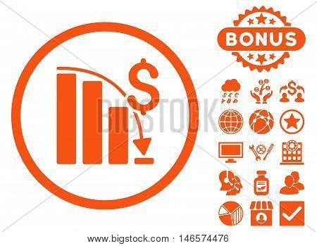 Epic Fail Chart icon with bonus. Vector illustration style is flat iconic symbols, orange color, white background.