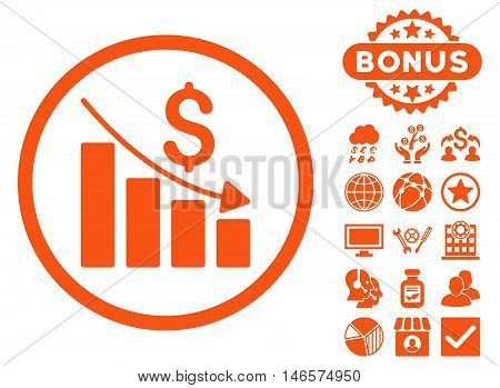 Recession Chart icon with bonus. Vector illustration style is flat iconic symbols, orange color, white background.