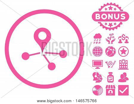 Geo Network icon with bonus. Vector illustration style is flat iconic symbols, pink color, white background.