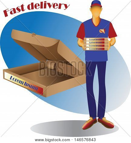 Courier delivery of goods and square packing. Vector image for advertising, sales and delivery of finished products to order.