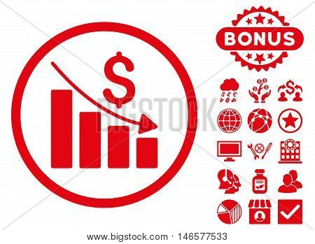 Recession Chart icon with bonus. Vector illustration style is flat iconic symbols, red color, white background.