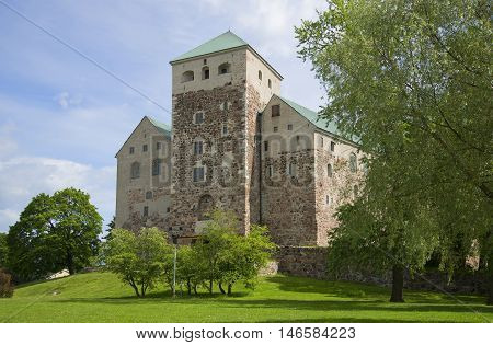 The view on the ancient castle Abo on a sunny june day. Turku, Finland