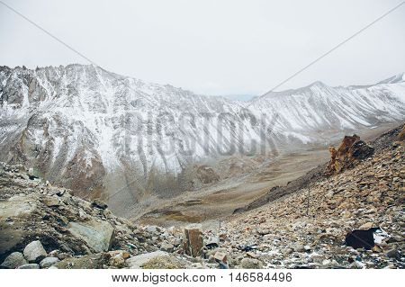 Landscape of Snow mountains in Leh Ladakh in Indian state of Jammu and Kashmir